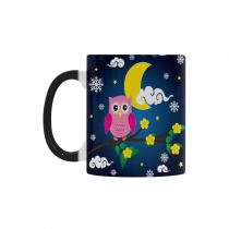 InterestPrint Kitchen & Dining Cute Owl Unique Winter Snowflake Morphing Mug Heat Sensitive Color Changing Mug Ceramic Coffee Mug Cup White 11 oz Moon Night