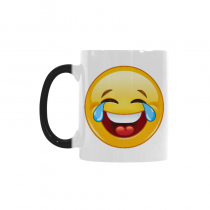 InterestPrint Yellow Cute Laughing Emoji Morphing Mug Heat Sensitive Color Changing Coffee Mug Cup, Funny Tears of Joy Face Emoticon Coffee Mug Christmas Birthday Gifts