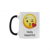 InterestPrint Cute Hello Beautiful Emoji Kiss Love Morphing Mug Heat Sensitive Color Changing Coffee Mug Cup with Quotes, Unique Funny Birthday Christmas Gifts for Men Women Him Her Mom Dad
