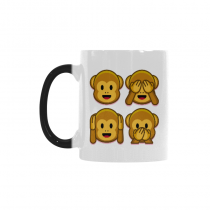 InterestPrint Funny Cute Monkey Emoji Morphing Mug Heat Sensitive Color Changing Coffee Mug Cup, Funny Three Wise Monkeys Face Emotion Coffee Mug Christmas Birthday Gifts