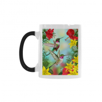 InterestPrint Birds Animal Print Hummingbird Morphing Mug Heat Sensitive Color Changing Coffee Mug Cup, Funny Red Floral Flower Hibiscus Yellow Lily Coffee Mug Christmas Birthday Gifts