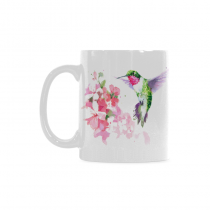 InterestPrint 11 Ounce White Ceramic Watercolor Floral Flower Hummingbird Funny Travel Coffee Mug Cup, Bird Wildlife Animal Print Coffee Mug Christmas Birthday Gifts
