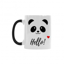 InterestPrint Cute Animal Bear Panda Smiling Face with Hello and Love Heart Heat Sensitive Mug Color Changing Mug Morphing Coffee Travel Mug Tea Cup Funny with Sayings Quotes, 11oz Ceramic Mug