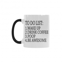 InterestPrint To Do List Wake Up Drink Coffee Poop Be Awesome Morphing Mug Heat Sensitive Color Changing Coffee Mug Cup with Quotes, Funny Birthday Christmas Gifts for Men Women Him Her Mom Dad