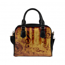 InterestPrint Music Notes Rose Retro Vintage Women's Shoulder Handbag/Tote Bag/Travel Bag