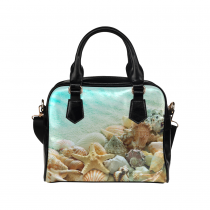 InterestPrint Seashell Starfish Conch Seascape Beach Women's Shoulder Handbag/Tote Bag/Travel Bag
