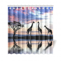 InterestPrint African Safari Animal Home Decor,Tree of Life Elephant Giraffe Sunset Lake Polyester Fabric Shower Curtain Bathroom Sets