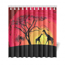 InterestPrint African Safari Animal Home Decor,Tree of Life Sunset Giraffe Polyester Fabric Shower Curtain Bathroom Sets