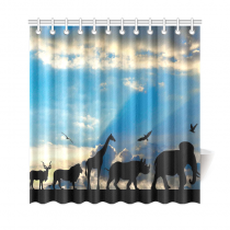 InterestPrint African Safari Animal Home Decor,Wildlife India Elephant Giraffe Blue Sky Polyester Fabric Shower Curtain Bathroom Sets