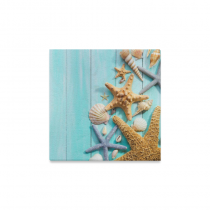 InterestPrint Starfish Seashell over Blue Wooden Canvas Wall Art Print Painting Wall Hanging Artwork for Home Decoration