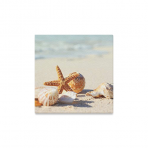InterestPrint Starfish Sea Shells with Sand Beach Canvas Wall Art Print Painting Wall Hanging Artwork for Home Decoration