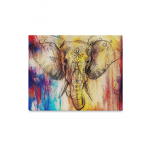 InterestPrint Elephant with Floral Watercolor Animal Art Canvas Wall Art Print Painting Wall Hanging Artwork for Home Decoration