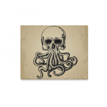 InterestPrint Vintage Octopus Skull Tentacle Canvas Wall Art Print Painting Wall Hanging Artwork for Home Decoration