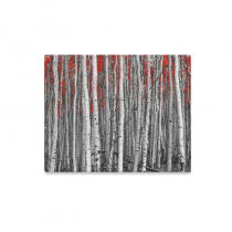 InterestPrint Grey Birch Red Leaves in Black and White Forest Canvas Wall Art Print Painting Wall Hanging Artwork for Home Decoration