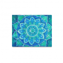 InterestPrint Abstract Mandala Blue Painted Pattern Canvas Wall Art Print Painting Wall Hanging Artwork for Home Decoration