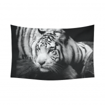 InterestPrint Animal Wall Art Home Decor, Lazy Siberian Tiger Black and White Cotton Linen Tapestry Wall Hanging Art Sets