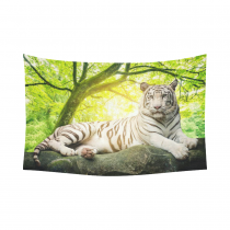 InterestPrint Animal Wall Art Home Decor, White Tiger with Green Tree Landscape Nature Scenery Cotton Linen Tapestry Wall Hanging Art Sets