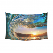 InterestPrint Natural Ocean View Wall Art Home Decor, Colored Sea Wave at Sunset Cotton Linen Tapestry Wall Hanging Art Sets