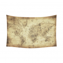 InterestPrint Global Decor, World Map Vintage Style Art Cotton Linen Tapestry Wall Hanging Art Sets