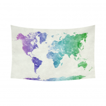 World map in watercolor painting abstract splatter CoInterestPrint Abstract Art Splatter Painting Home Decor, Watercolor World Map Blue Purple Cotton Linen Tapestry Wall Hanging Art Sets 90 X 60 Inchestton Linen Wall Tapestry