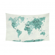InterestPrint Abstract Art Splatter Painting Home Decor, Watercolor World Map Green Cotton Linen Tapestry Wall Hanging Art Sets