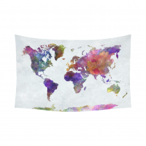 InterestPrint Abstract Art Splatter Painting Home Decor, Watercolor World Map Cotton Linen Tapestry Wall Hanging Art Sets