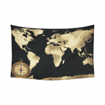 InterestPrint Global Decor, Gold World Map and Compass Cotton Linen Tapestry Wall Hanging Art Sets