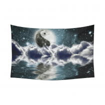 InterestPrint Night Sky Wall Art Home Decor, Full Moon with Sign of Yin Yang in the Clouds Cotton Linen Tapestry Wall Hanging Art Sets