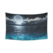 InterestPrint Ocean Landscape Wall Art Home Decor, Romantic Panorama with Full Moon on Sea Cotton Linen Tapestry Wall Hanging Art Sets