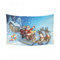 InterestPrint Christmas Theme Wall Art Home Decor, Merry Christmas Santa Claus in Sleigh with Reindeer Cotton Linen Tapestry Wall Hanging Art Sets