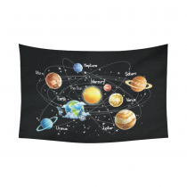InterestPrint Educational Wall Art Home Decor, Solar System Cotton Linen Tapestry Wall Hanging Art Sets