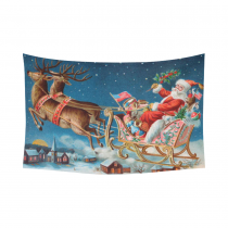 InterestPrint Festival Wall Art Home Decor, Merry Christmas Santa and His Sleigh Coming to Your Home Cotton Linen Tapestry Wall Hanging Art Sets