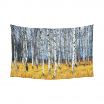 InterestPrint Autumn Landscape Wall Art Home Decor, Woodland Forest with Birch Tree Trunks Cotton Linen Tapestry Wall Hanging Art Sets