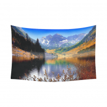 InterestPrint Landscape Nature Scenery Wall Art Home Decor, Mountain Lake Maroon near Aspen Colorado Cotton Linen Tapestry Wall Hanging Art Sets
