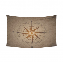 InterestPrint Voyager Wall Art Home Decor, Vintage Compass Cotton Linen Tapestry Wall Hanging Art Sets