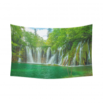 InterestPrint Nature Scenery Wall Art Home Decor, Beautiful Waterfall in Plitvice Lakes National Park in Croatia  Cotton Linen Tapestry Wall Hanging Art Sets