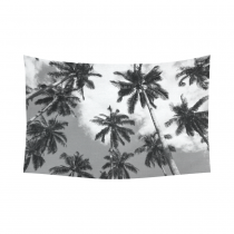 InterestPrint Wall Art Home Decor, Sky Coconut Palm Tree Black and White Cotton Linen Tapestry Wall Hanging Art Sets