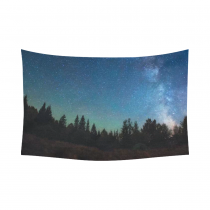 InterestPrint Milky Way Celestial Wall Art Home Decor, Night Sky Forest Tree Cotton Linen Tapestry Wall Hanging Art Sets