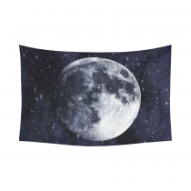 InterestPrint Space Wall Art Home Decor, Super Moon in the Galaxy Cotton Linen Tapestry Wall Hanging Art Sets