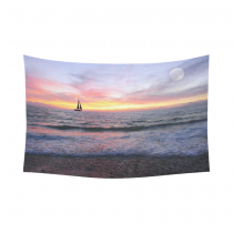 InterestPrint Seascape Wall Art Home Decor, Sailboat with Burning Sun on the Ocean Horizon against Sky Cotton Linen Tapestry Wall Hanging Art Sets