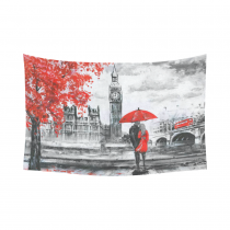 InterestPrint Artwork Cityscape Wall Art Home Decor, Oil Painting Street View of London Big Ben, River and Bus on Bridge Cotton Linen Tapestry Wall Hanging Art Sets