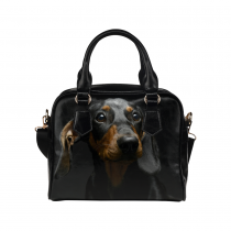 InterestPrint Sad Dachshund Dog Black Women's PU Leather Purse Handbags Shoulder Bag