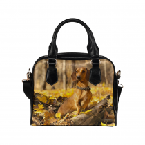 InterestPrint Autumn Leaves Dachshund Dog Women's PU Leather Purse Handbags Shoulder Bag