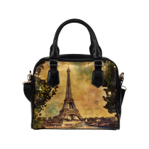 InterestPrint Paris Eiffel Tower Women Leather Shoulder Bag Handbag Satchel Bag Purse
