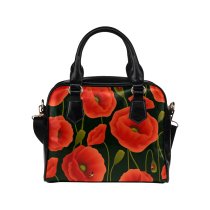 InterestPrint Poppy Flower Poppies Women Leather Shoulder Bag Handbag Satchel Bag Purse