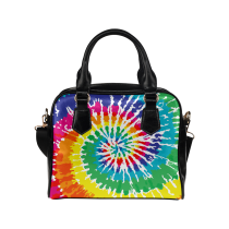 InterestPrint Tie Dye Women Leather Shoulder Bag Handbag Satchel Bag Purse