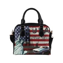 InterestPrint Statue of Liberty American USA Flag Women's Shoulder Handbag/Tote Bag/Travel Bag