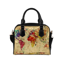 InterestPrint Retro Vintage World Map Watercolor Women's Shoulder Handbag/Tote Bag/Travel Bag