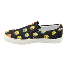InterestPrint Emoji Black Casual Slip-on Canvas Women's Fashion Sneakers Shoes