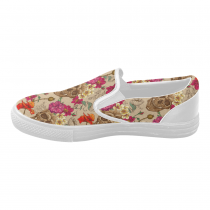 InterestPrint Floral Sugar Skull Casual Slip-on Canvas Women's Fashion Sneakers Shoes